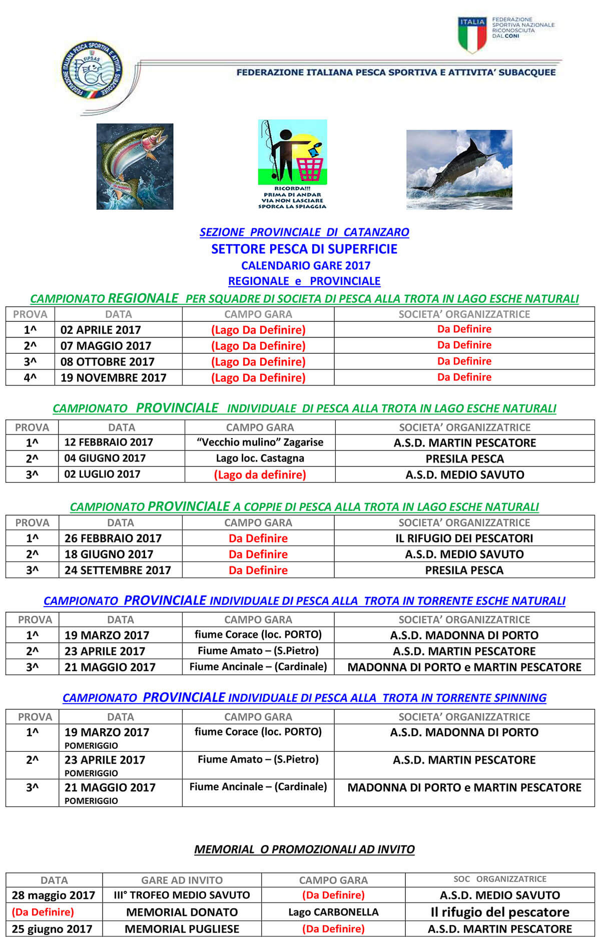 Calendario Gare Pesca trota 2017 Catanzaro