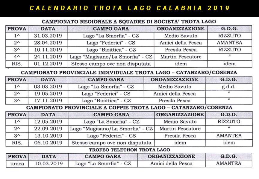 Calendario Gare Trota Lago Calabria 2019