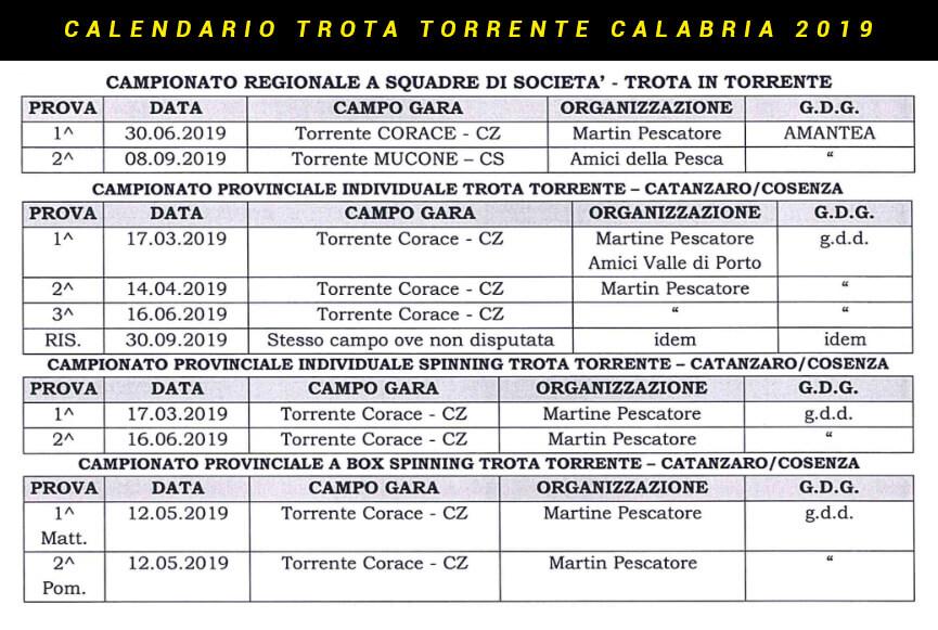 Calendario Gare Trota Torrente Calabria 2019