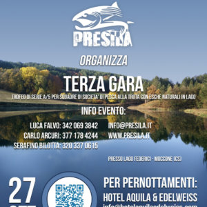 Locandina Gara Pesca Trota lago A5 del 27/10/2019 a Moccone sul Lago Federici