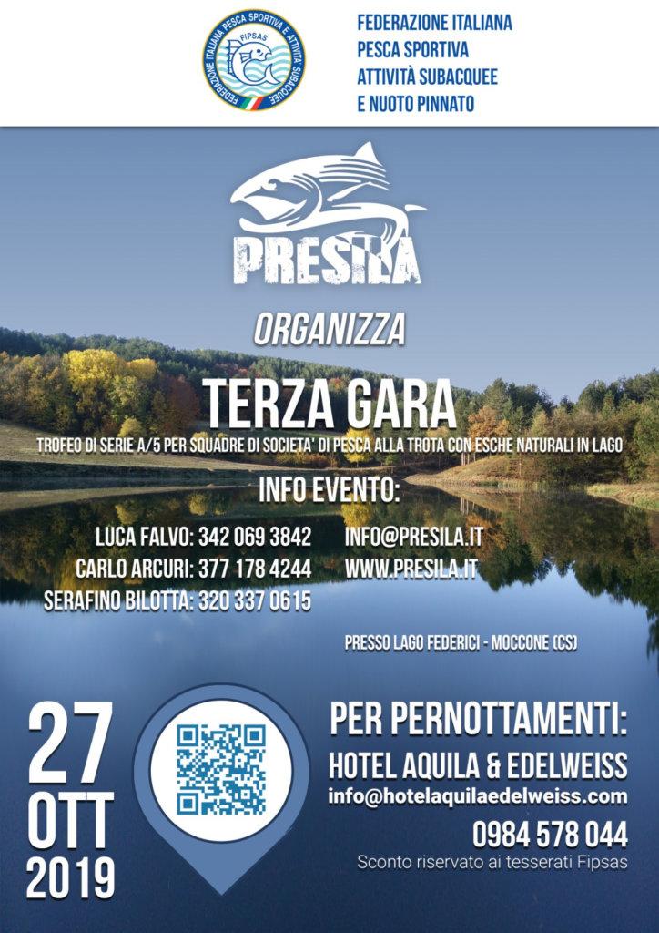 Locandina Terza gara a5 Pesca Trota lago del 27/10/2019 a Moccone sul Lago Federici